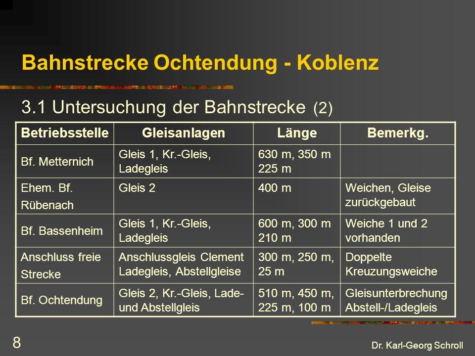 Dr. Karl-Georg Schroll 8 Bahnstrecke Ochtendung - Koblenz 3.1 Untersuchung der Bahnstrecke (2) BetriebsstelleGleisanlagenLängeBemerkg. Bf. Metternich