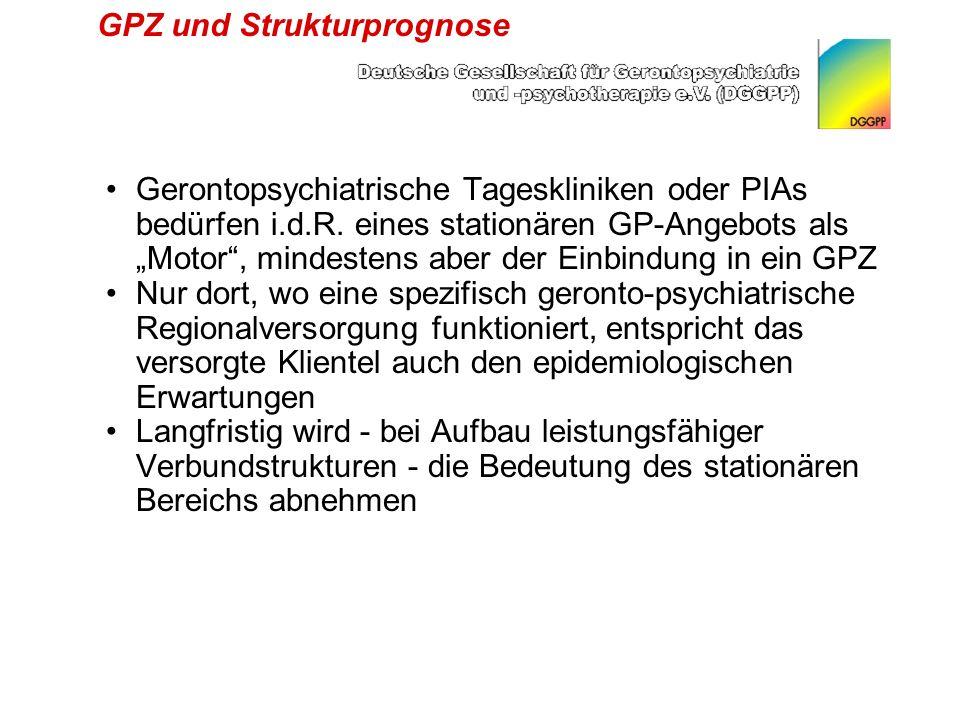 GPZ und Strukturprognose Gerontopsychiatrische Tageskliniken oder PIAs bedürfen i.d.R.