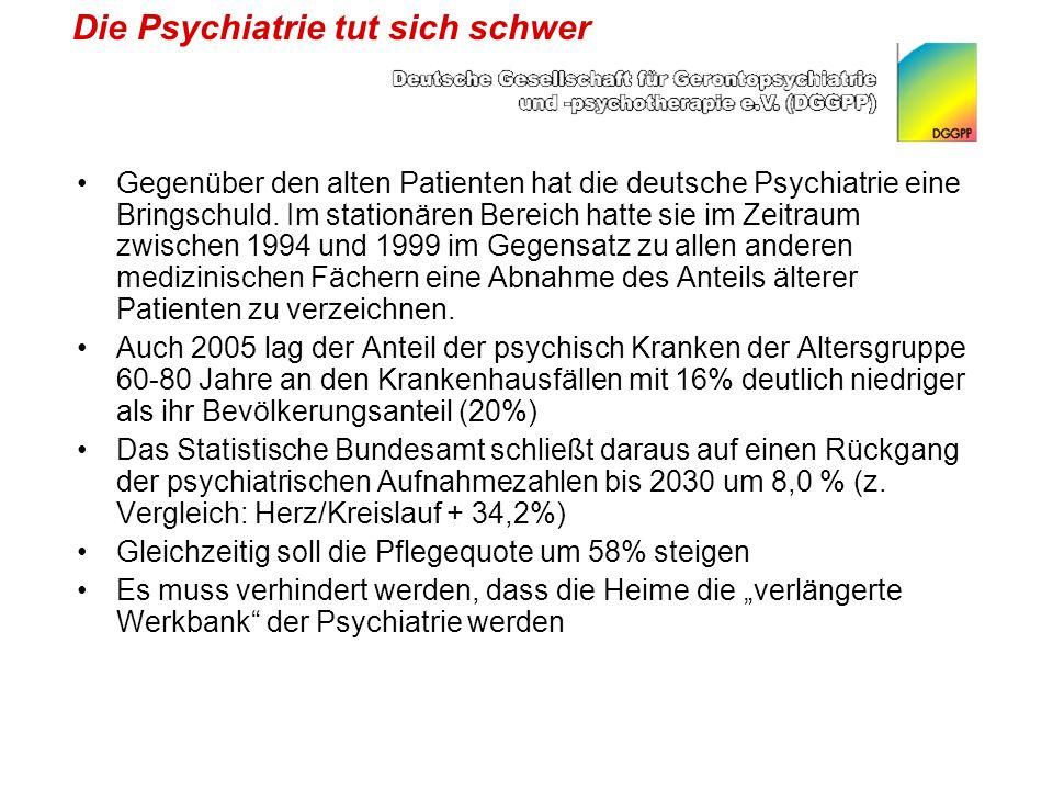 Die Psychiatrie tut sich schwer Gegenüber den alten Patienten hat die deutsche Psychiatrie eine Bringschuld.