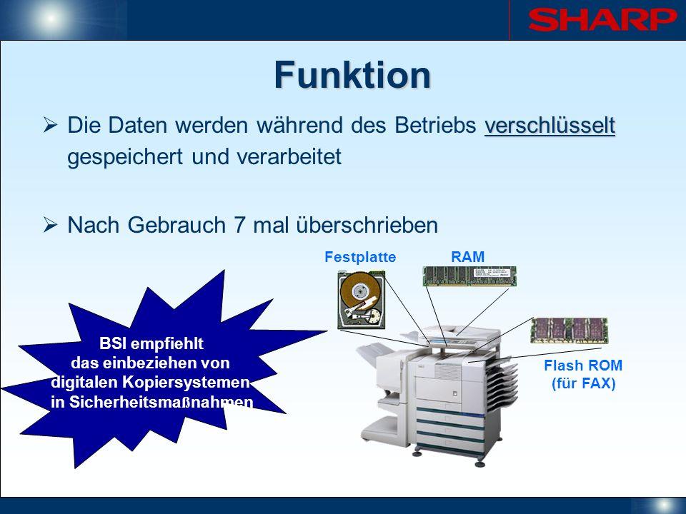 Funktion FestplatteRAM Flash ROM (für FAX) verschlüsselt Die Daten werden während des Betriebs verschlüsselt gespeichert und verarbeitet Nach Gebrauch