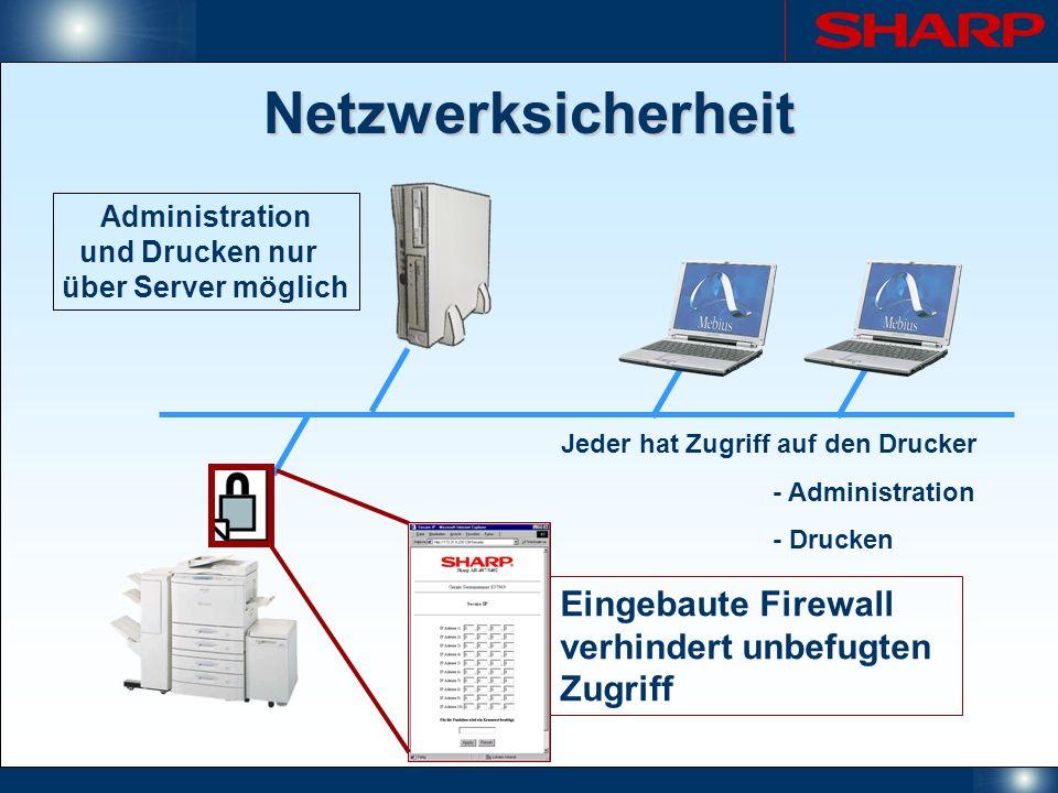 Netzwerksicherheit Jeder hat Zugriff auf den Drucker - Administration - Drucken Eingebaute Firewall verhindert unbefugten Zugriff Administration und D