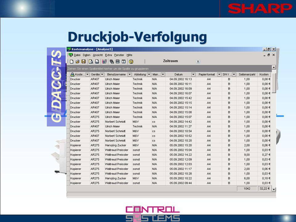 Druckjob-Verfolgung Printserver GESPAGE PIN-Terminal Copicode Alpha DACC-TS Terminal-Server GESPAGE DACC-TS