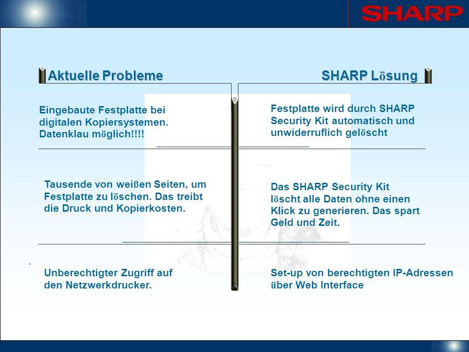 Aktuelle Probleme SHARP L ö sung Eingebaute Festplatte bei digitalen Kopiersystemen. Datenklau m ö glich!!!!. Festplatte wird durch SHARP Security Kit