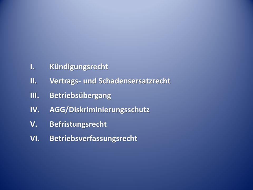 I.Kündigungsrecht II.Vertrags- und Schadensersatzrecht III.Betriebsübergang IV.AGG/Diskriminierungsschutz V.Befristungsrecht VI.Betriebsverfassungsrec