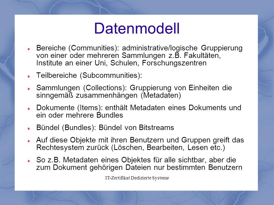 Datenmodell Bereiche (Communities): administrative/logische Gruppierung von einer oder mehreren Sammlungen z.B. Fakultäten, Institute an einer Uni, Sc