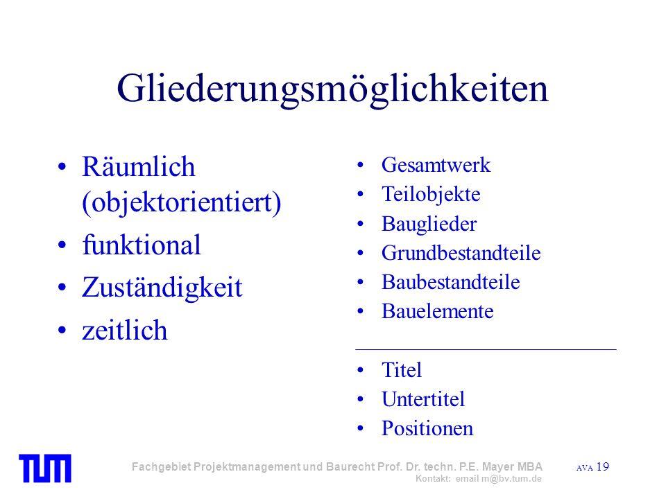 AVA 19 Fachgebiet Projektmanagement und Baurecht Prof. Dr. techn. P.E. Mayer MBA Kontakt: email m@bv.tum.de Gliederungsmöglichkeiten Räumlich (objekto