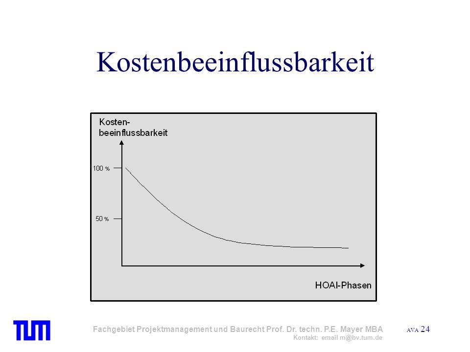 AVA 24 Fachgebiet Projektmanagement und Baurecht Prof. Dr. techn. P.E. Mayer MBA Kontakt: email m@bv.tum.de Kostenbeeinflussbarkeit