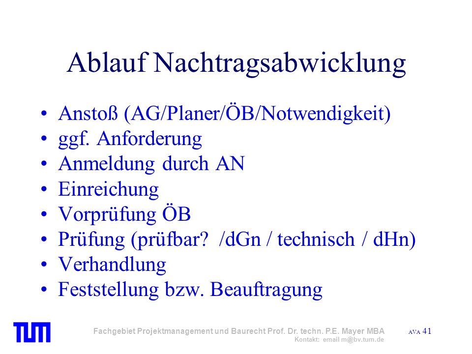 AVA 41 Fachgebiet Projektmanagement und Baurecht Prof. Dr. techn. P.E. Mayer MBA Kontakt: email m@bv.tum.de Ablauf Nachtragsabwicklung Anstoß (AG/Plan