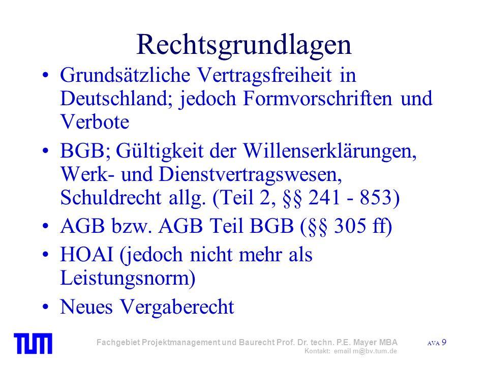 AVA 9 Fachgebiet Projektmanagement und Baurecht Prof. Dr. techn. P.E. Mayer MBA Kontakt: email m@bv.tum.de Rechtsgrundlagen Grundsätzliche Vertragsfre