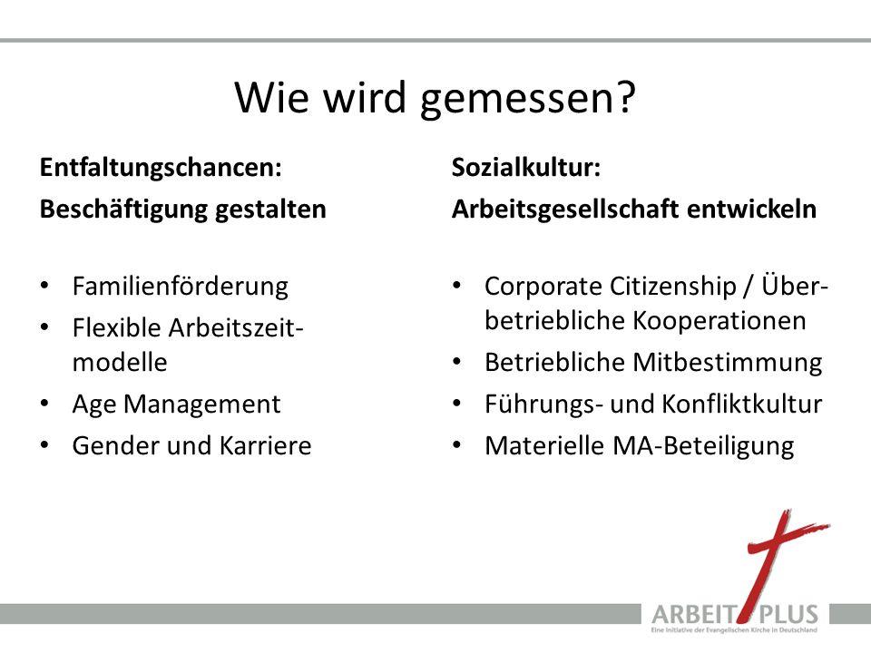 Wie wird gemessen? Entfaltungschancen: Beschäftigung gestalten Familienförderung Flexible Arbeitszeit- modelle Age Management Gender und Karriere Sozi