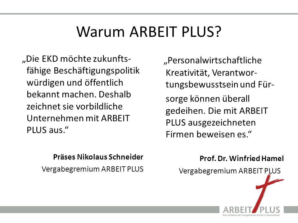 Warum ARBEIT PLUS? Die EKD möchte zukunfts- fähige Beschäftigungspolitik würdigen und öffentlich bekannt machen. Deshalb zeichnet sie vorbildliche Unt