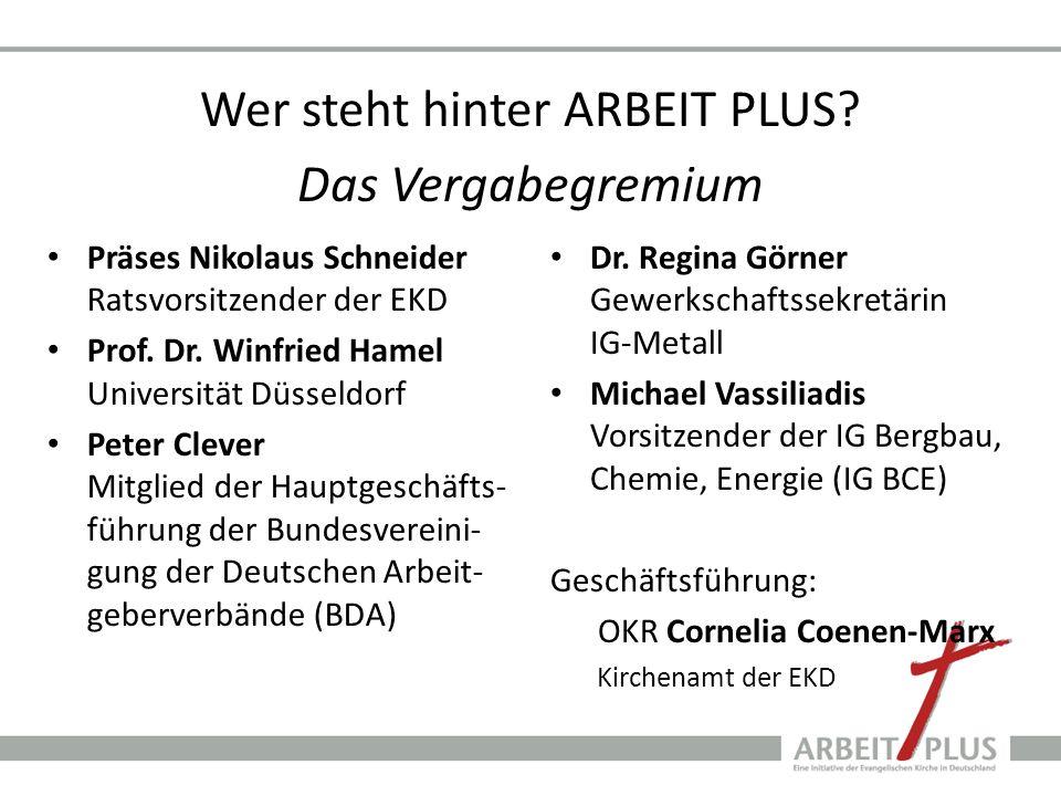 Wer steht hinter ARBEIT PLUS? Das Vergabegremium Präses Nikolaus Schneider Ratsvorsitzender der EKD Prof. Dr. Winfried Hamel Universität Düsseldorf Pe