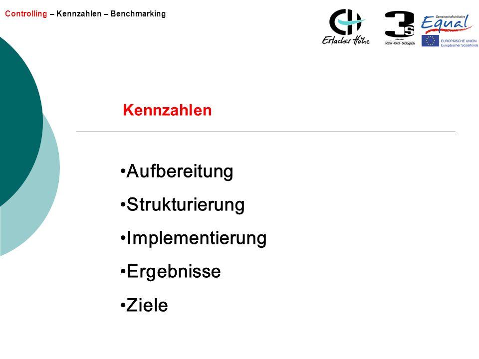Controlling – Kennzahlen – Benchmarking Aufbereitung Strukturierung Implementierung Ergebnisse Ziele Kennzahlen