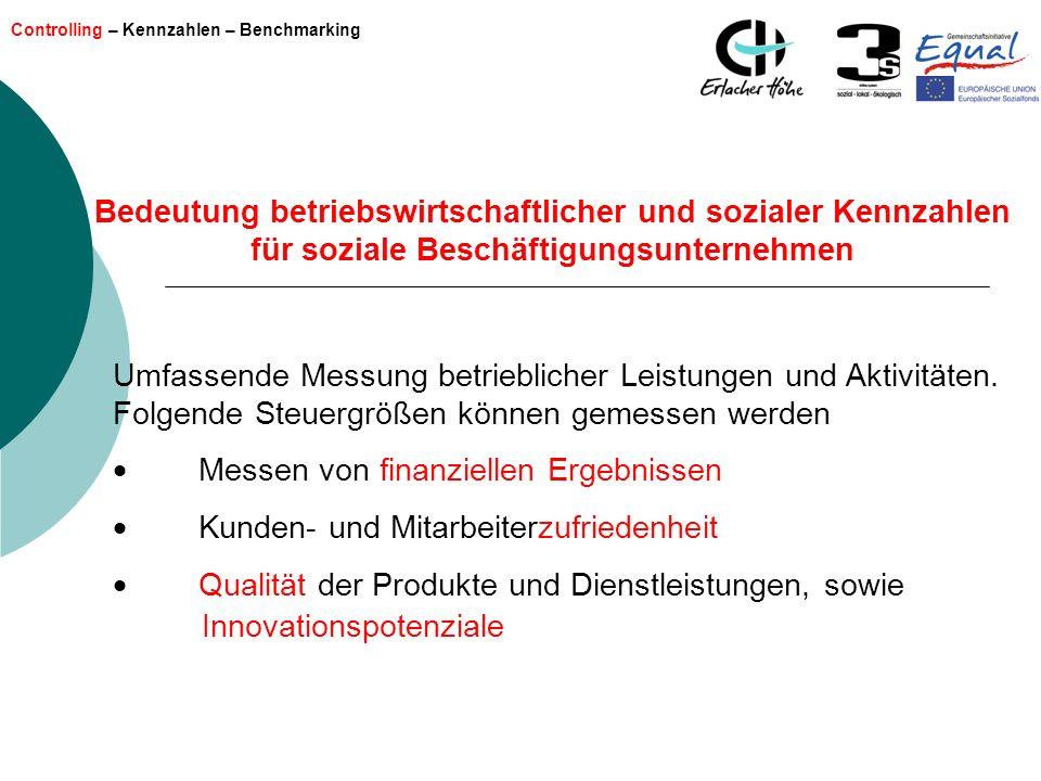 Controlling – Kennzahlen – Benchmarking Bedeutung betriebswirtschaftlicher und sozialer Kennzahlen für soziale Beschäftigungsunternehmen Umfassende Me