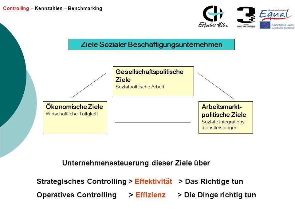 Controlling – Kennzahlen – Benchmarking Ziele Sozialer Beschäftigungsunternehmen Ökonomische Ziele Wirtschaftliche Tätigkeit Arbeitsmarkt- politische
