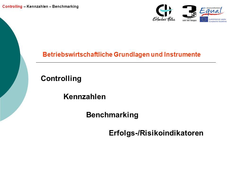 Controlling – Kennzahlen – Benchmarking Betriebswirtschaftliche Grundlagen und Instrumente Controlling Kennzahlen Benchmarking Erfolgs-/Risikoindikato