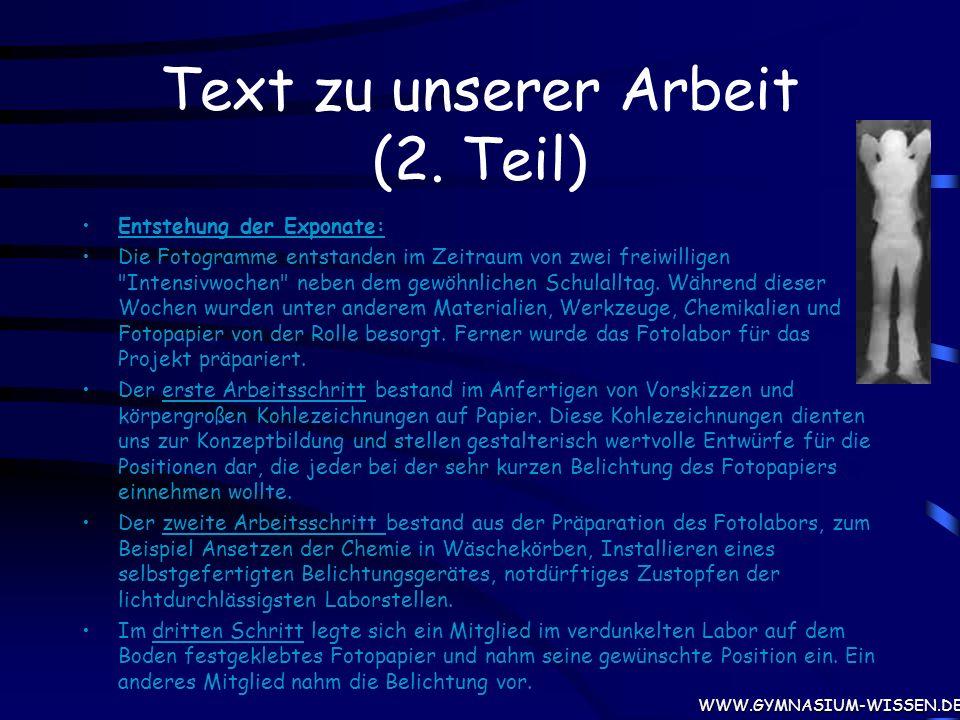 Ein Text zu unserer Arbeit (1.Teil) HERZLICH WILLKOMMEN, sehr geehrte InteressentIn, der Ausstellung.