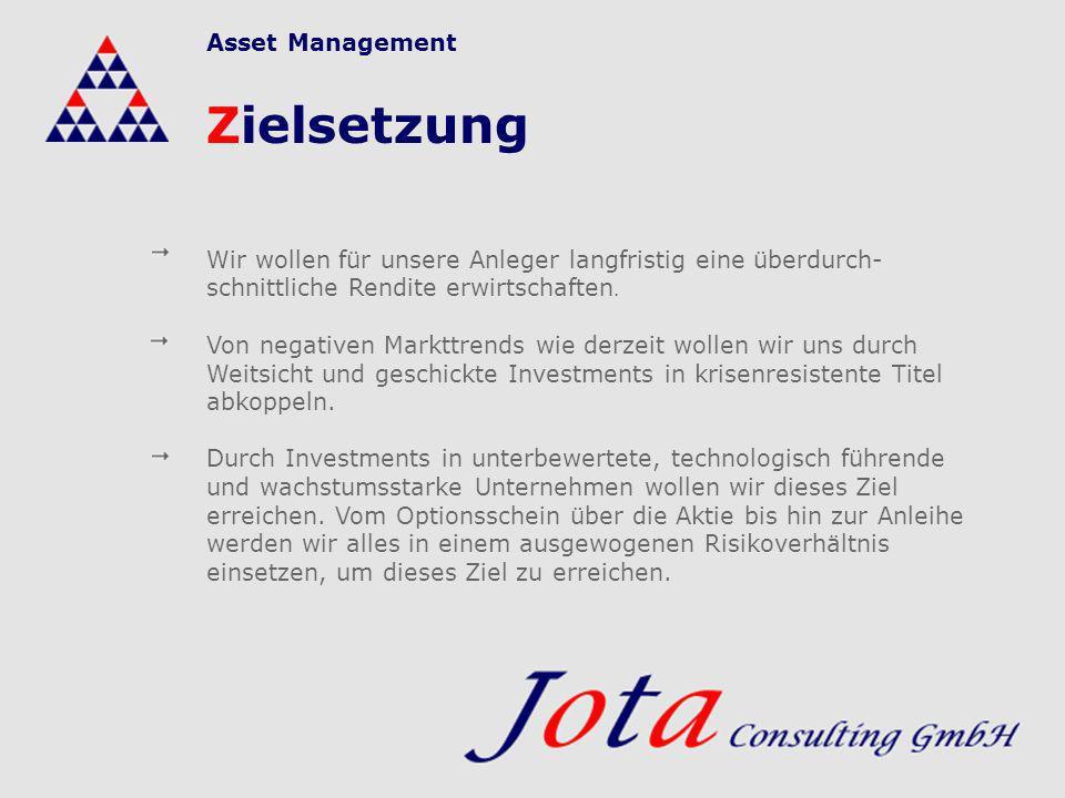 Zielsetzung Wir wollen für unsere Anleger langfristig eine überdurch- schnittliche Rendite erwirtschaften. Von negativen Markttrends wie derzeit wolle