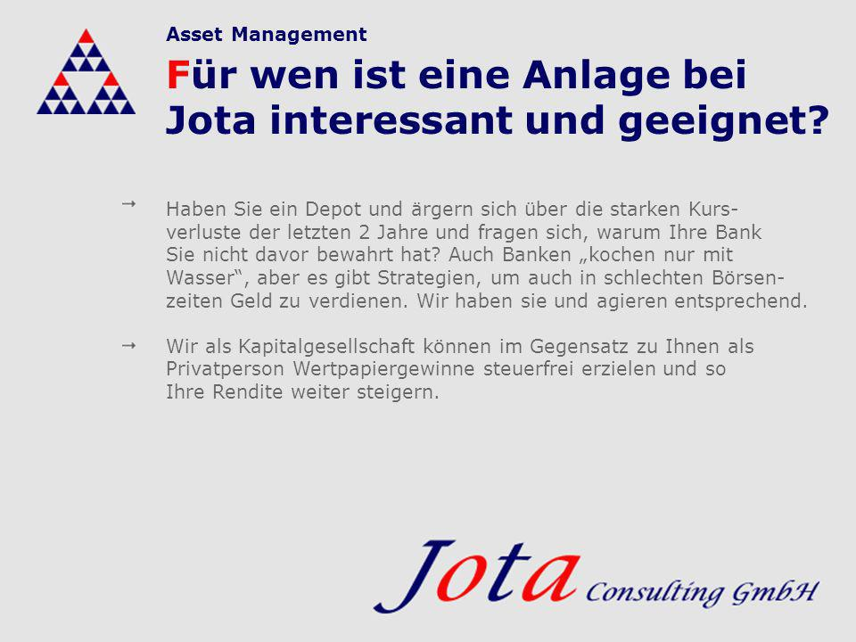 Für wen ist eine Anlage bei Jota interessant und geeignet? Haben Sie ein Depot und ärgern sich über die starken Kurs- verluste der letzten 2 Jahre und