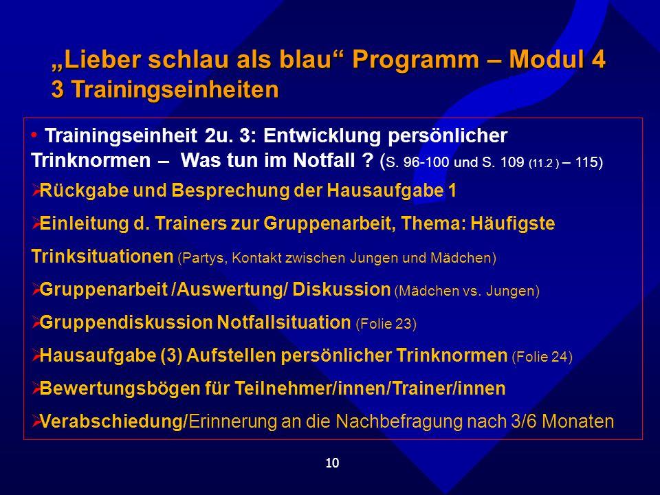 10 Lieber schlau als blau Programm – Modul 4 3 Trainingseinheiten Trainingseinheit 2u.