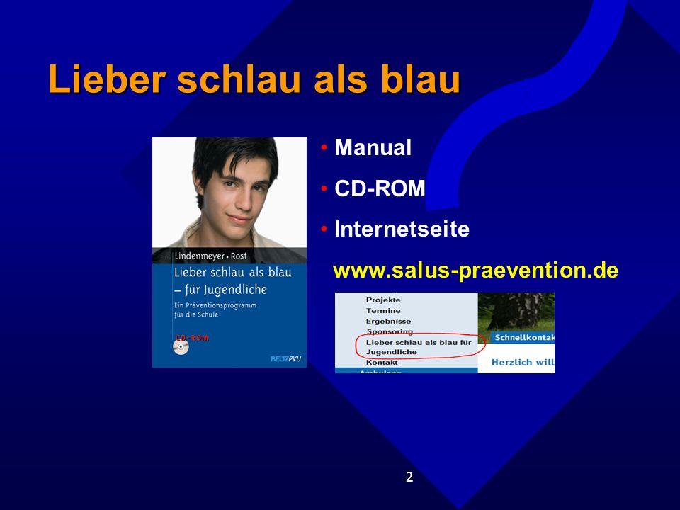 2 Lieber schlau als blau Manual CD-ROM Internetseite www.salus-praevention.de