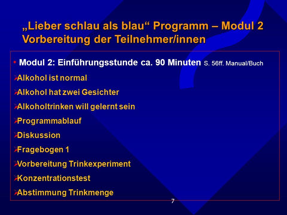 7 Lieber schlau als blau Programm – Modul 2 Vorbereitung der Teilnehmer/innen Modul 2: Einführungsstunde ca.