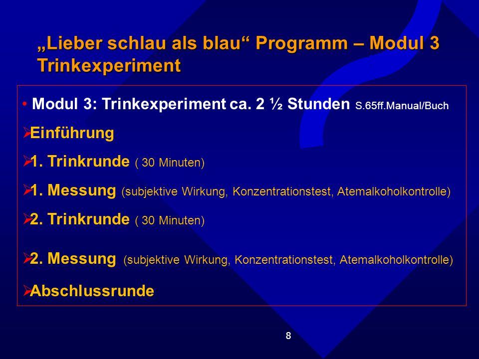 8 Lieber schlau als blau Programm – Modul 3 Trinkexperiment Modul 3: Trinkexperiment ca.