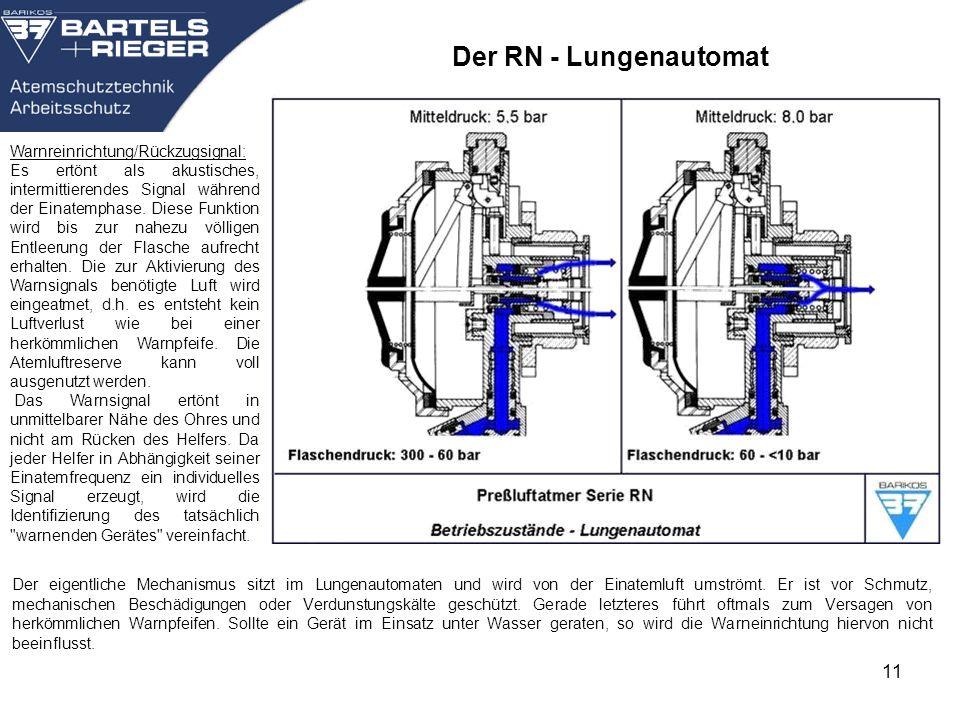 11 Der eigentliche Mechanismus sitzt im Lungenautomaten und wird von der Einatemluft umströmt. Er ist vor Schmutz, mechanischen Beschädigungen oder Ve