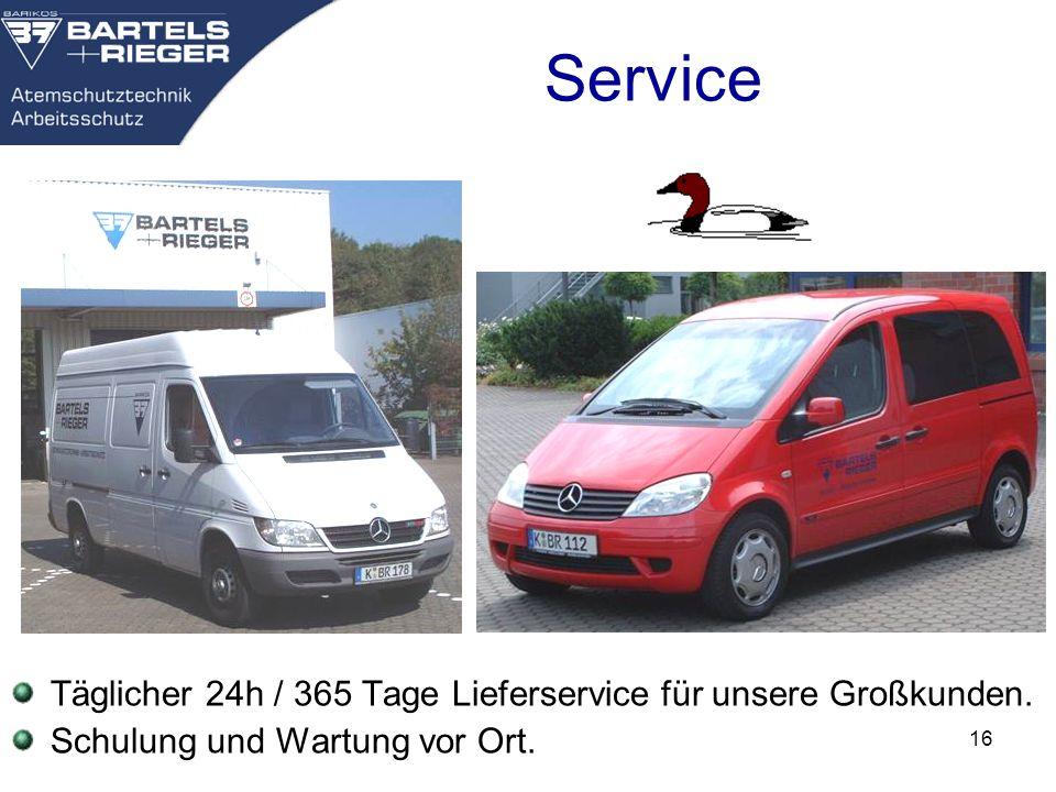 16 Service Täglicher 24h / 365 Tage Lieferservice für unsere Großkunden. Schulung und Wartung vor Ort.