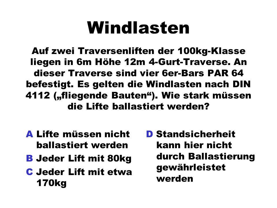 Windlasten Auf zwei Traversenliften der 100kg-Klasse liegen in 6m Höhe 12m 4-Gurt-Traverse. An dieser Traverse sind vier 6er-Bars PAR 64 befestigt. Es