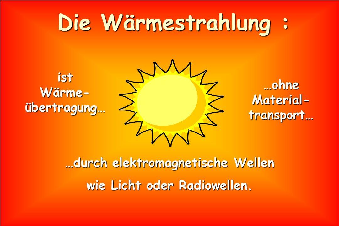 Die Wärmestrahlung : …durch elektromagnetische Wellen wie Licht oder Radiowellen. ist Wärme- übertragung… …ohne Material- transport…