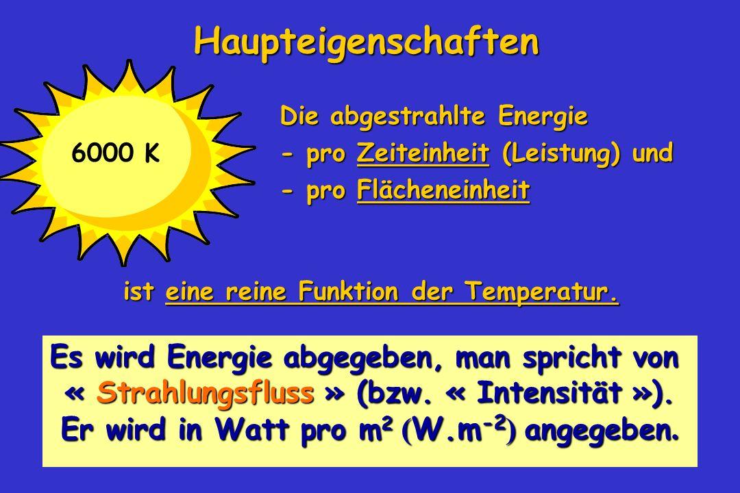 27 Die abgestrahlte Energie - pro Zeiteinheit (Leistung) und - pro Zeiteinheit (Leistung) und - pro Flächeneinheit - pro Flächeneinheit Es wird Energi