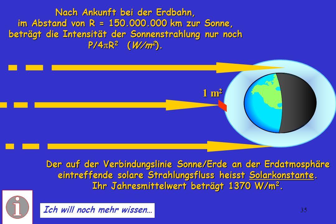 35 Der auf der Verbindungslinie Sonne/Erde an der Erdatmosphäre eintreffende solare Strahlungsfluss heisst Solarkonstante. Ihr Jahresmittelwert beträg