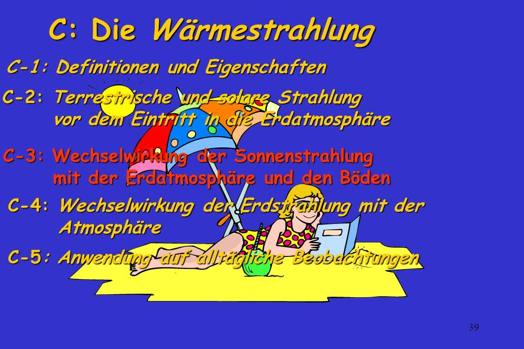 39 C: Die Wärmestrahlung C-3: Wechselwirkung der Sonnenstrahlung mit der Erdatmosphäre und den Böden C-2: Terrestrische und solare Strahlung vor dem E