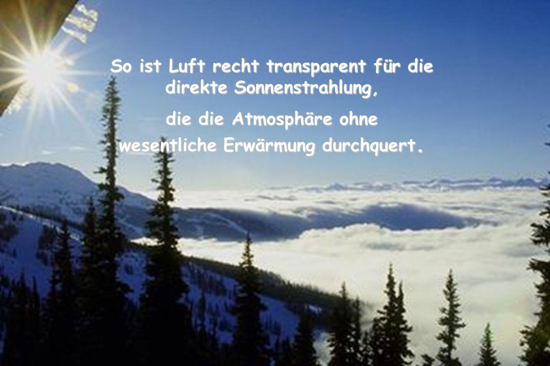 42 So ist Luft recht transparent für die direkte Sonnenstrahlung, die die Atmosphäre ohne wesentliche Erwärmung durchquert.
