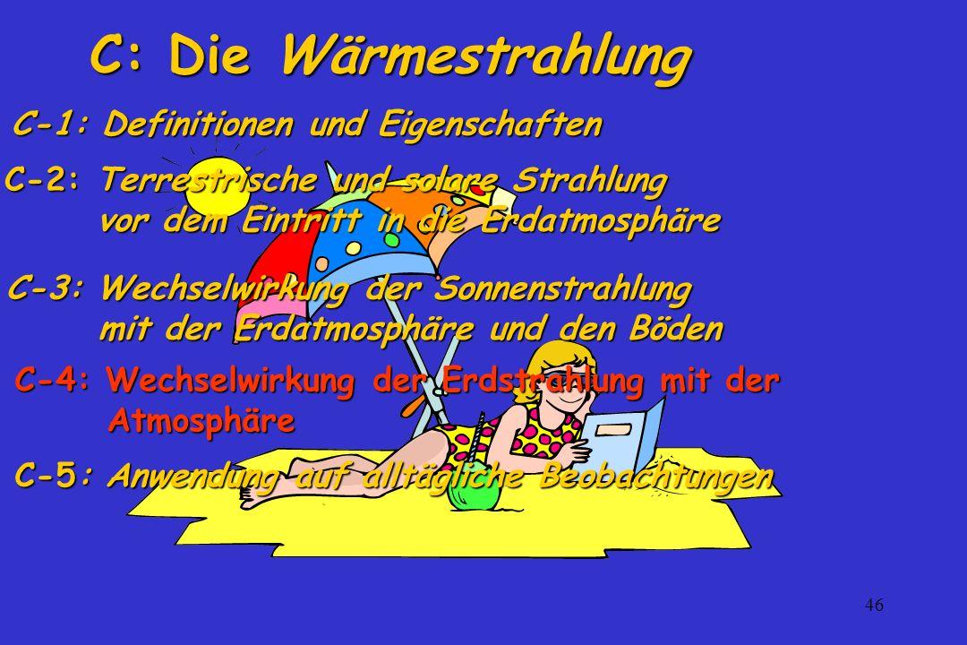 46 C: Die Wärmestrahlung C-3: Wechselwirkung der Sonnenstrahlung mit der Erdatmosphäre und den Böden C-2: Terrestrische und solare Strahlung vor dem E