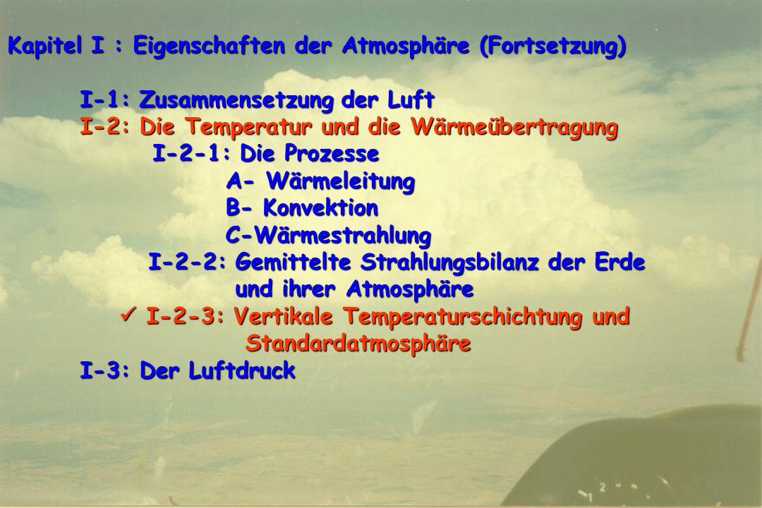 58 Kapitel I : Eigenschaften der Atmosphäre (Fortsetzung) I-1: Zusammensetzung der Luft I-2: Die Temperatur und die Wärmeübertragung I-2-1: Die Prozes