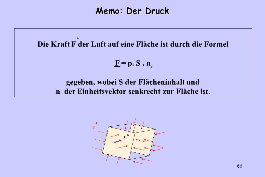66 Memo: Der Druck f n Die Kraft F der Luft auf eine Fläche ist durch die Formel F = p. S. n gegeben, wobei S der Flächeninhalt und n der Einheitsvekt