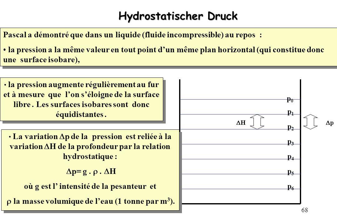 68 Hydrostatischer Druck Hydrostatischer Druck p0p0 p1p1 p2p2 p3p3 p4p4 p5p5 p6p6 p H La variation p de la pression est reliée à la variation H de la