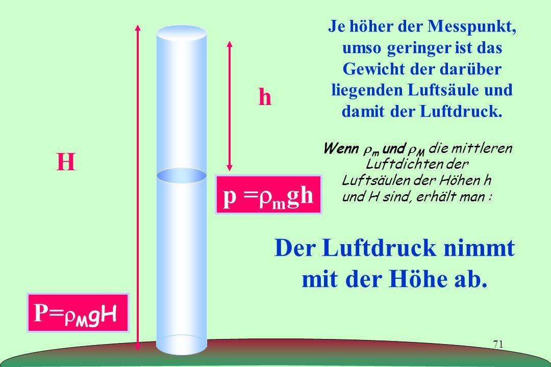 71 Je höher der Messpunkt, umso geringer ist das Gewicht der darüber liegenden Luftsäule und damit der Luftdruck. Der Luftdruck nimmt mit der Höhe ab.