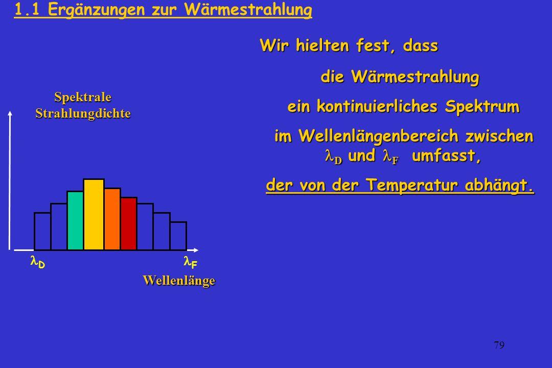 79 die Wärmestrahlung ein kontinuierliches Spektrum ein kontinuierliches Spektrum im Wellenlängenbereich zwischen D und F umfasst, im Wellenlängenbere