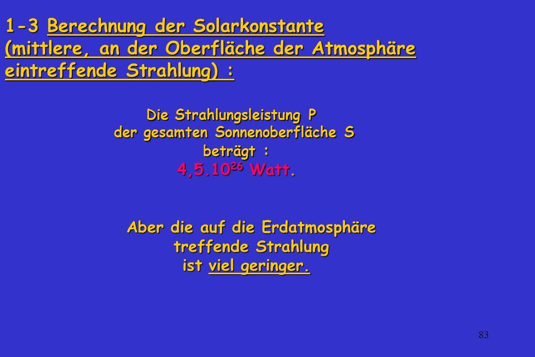 83 1-3 Berechnung der Solarkonstante (mittlere, an der Oberfläche der Atmosphäre eintreffende Strahlung) : Aber die auf die Erdatmosphäre treffende St