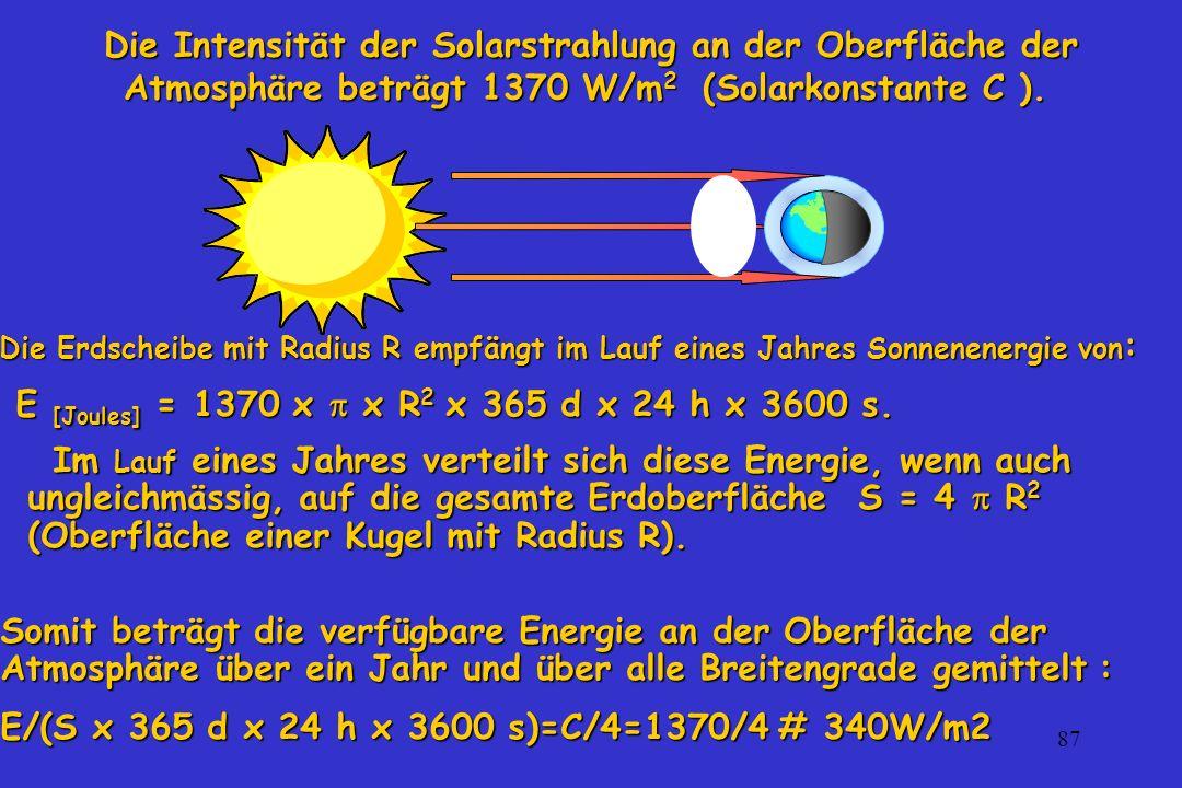 87 Die Intensität der Solarstrahlung an der Oberfläche der Atmosphäre beträgt 1370 W/m 2 (Solarkonstante C ). Die Intensität der Solarstrahlung an der