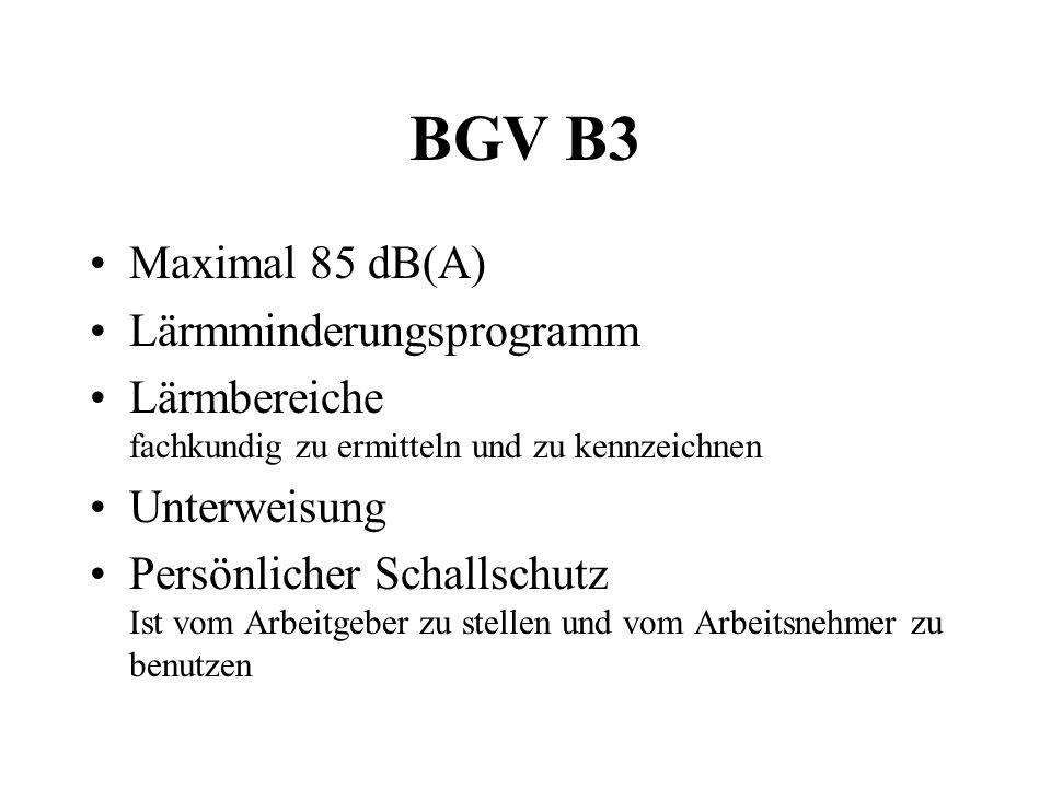 BGV B3 Maximal 85 dB(A) Lärmminderungsprogramm Lärmbereiche fachkundig zu ermitteln und zu kennzeichnen Unterweisung Persönlicher Schallschutz Ist vom