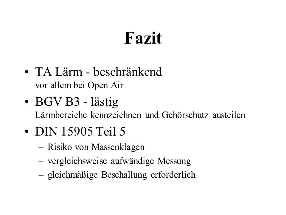 Fazit TA Lärm - beschränkend vor allem bei Open Air BGV B3 - lästig Lärmbereiche kennzeichnen und Gehörschutz austeilen DIN 15905 Teil 5 –Risiko von M
