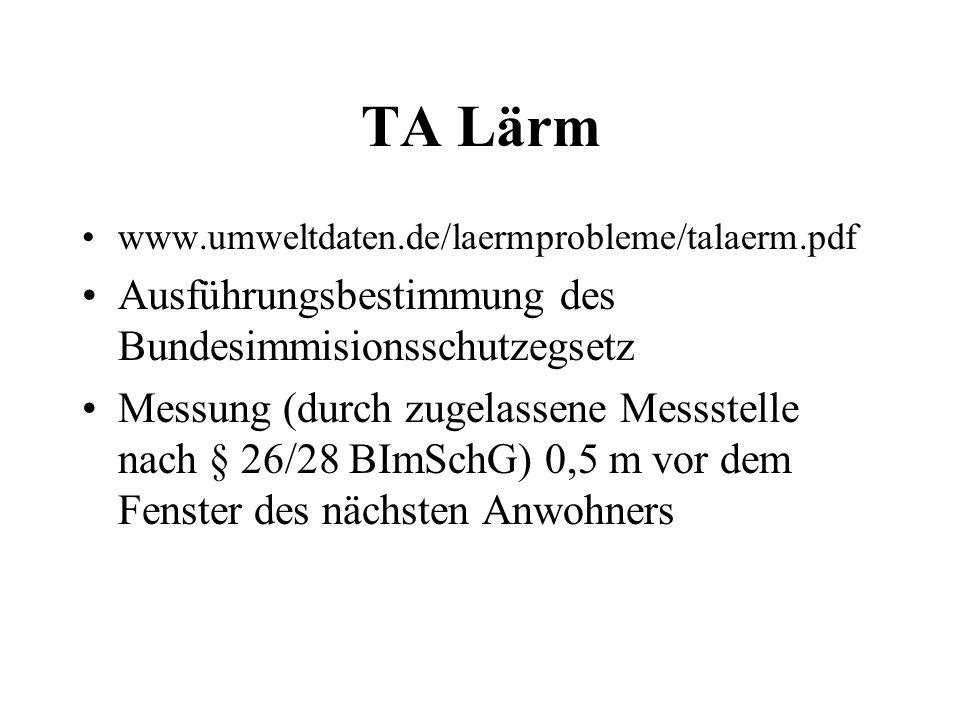 TA Lärm www.umweltdaten.de/laermprobleme/talaerm.pdf Ausführungsbestimmung des Bundesimmisionsschutzegsetz Messung (durch zugelassene Messstelle nach