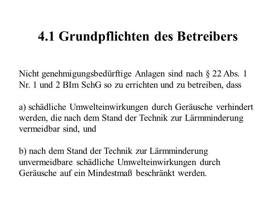 4.1 Grundpflichten des Betreibers Nicht genehmigungsbedürftige Anlagen sind nach § 22 Abs. 1 Nr. 1 und 2 BIm SchG so zu errichten und zu betreiben, da
