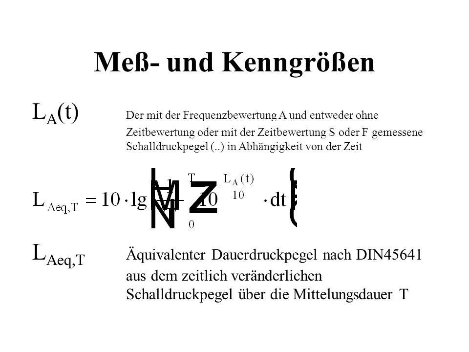 Meß- und Kenngrößen L A (t) Der mit der Frequenzbewertung A und entweder ohne Zeitbewertung oder mit der Zeitbewertung S oder F gemessene Schalldruckp