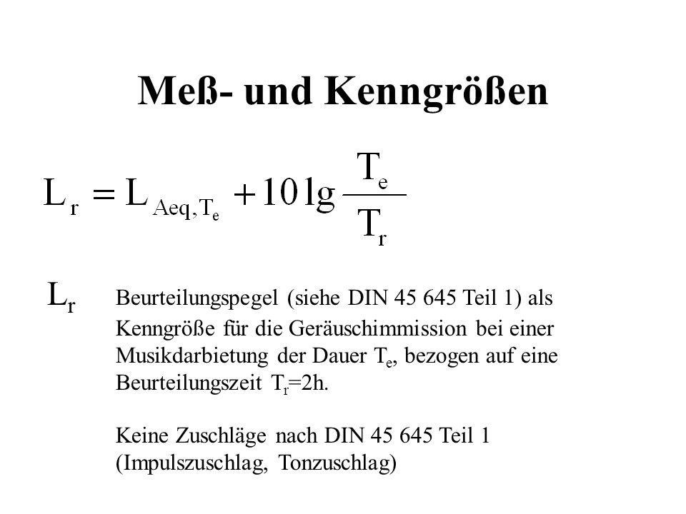 Meß- und Kenngrößen L r Beurteilungspegel (siehe DIN 45 645 Teil 1) als Kenngröße für die Geräuschimmission bei einer Musikdarbietung der Dauer T e, b