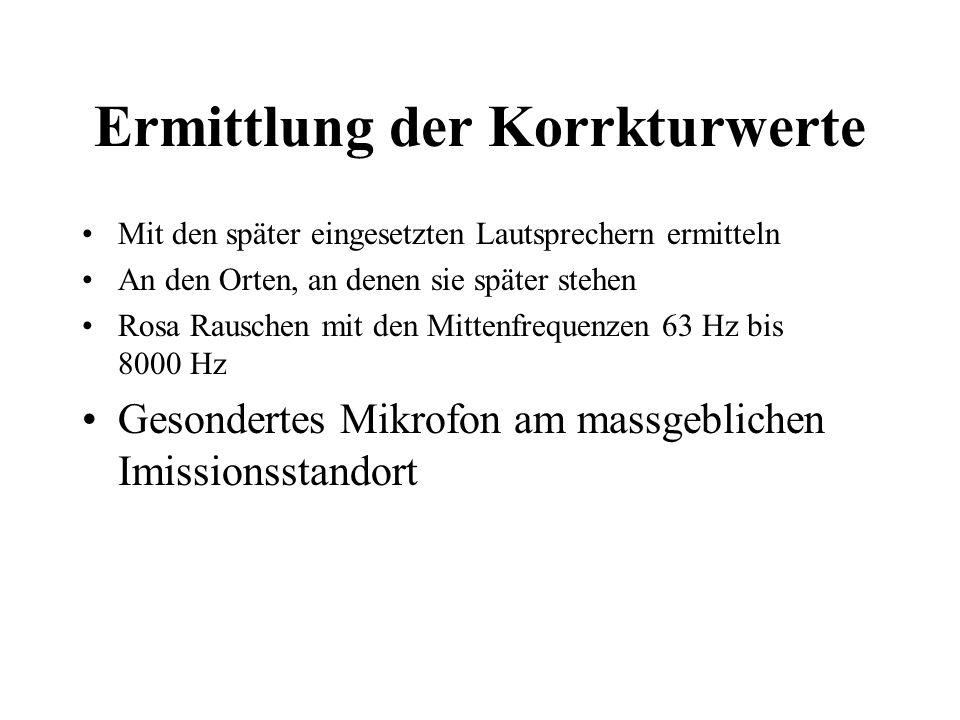 Ermittlung der Korrkturwerte Mit den später eingesetzten Lautsprechern ermitteln An den Orten, an denen sie später stehen Rosa Rauschen mit den Mitten